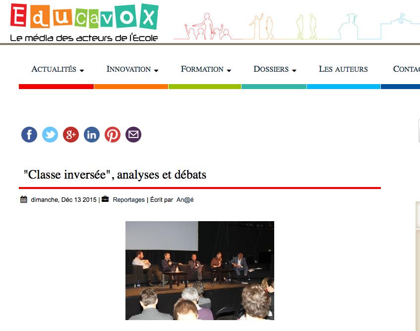 Article d'Educavox : Table ronde sur classe(s)inversée(s)